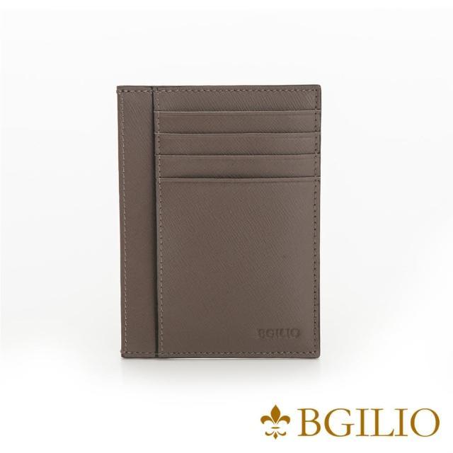 【Bgilio】都會十字紋牛皮輕薄卡片夾-咖啡色(2299.310-03)