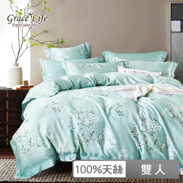 【Grace Life】100%天絲全鋪棉四件式兩用被床包組 頂級精緻系列 花雨露(雙人)
