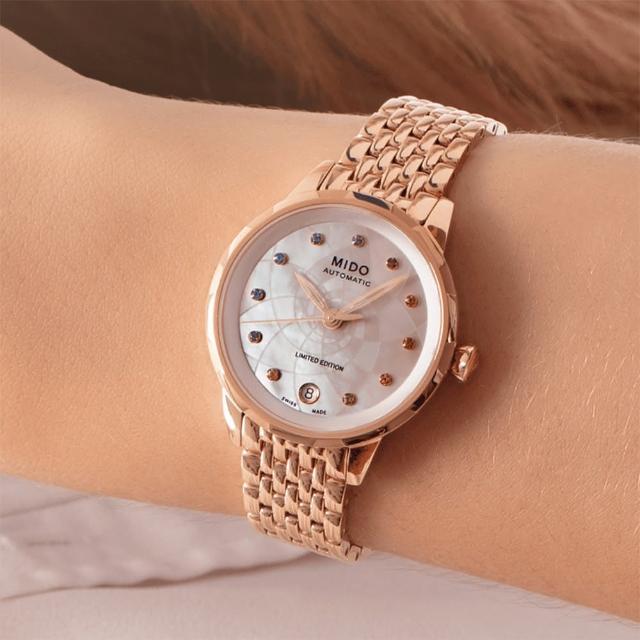 【MIDO 美度】Rainflower 花雨系列限量機械套錶 手錶/玫瑰金(M0432073310900)