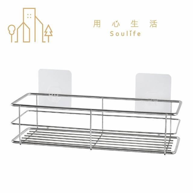 【用心生活 Soulife X 東居 Dr. Hook】無痕304不鏽鋼中型置物架(浴室收納 廚房收納)