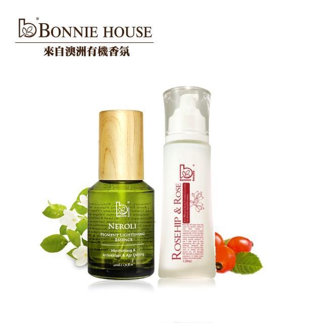 【Bonnie House 植享家】橙花絲絨露60ml+頂級玫瑰果防皺沐顏膠120ml