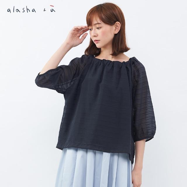 【a la sha+a】領口後綁帶緹織透視感上衣