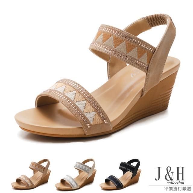 【J&H collection】百搭度假風厚底露趾高跟涼鞋(現+預 黑色 / 米白色 / 杏色)