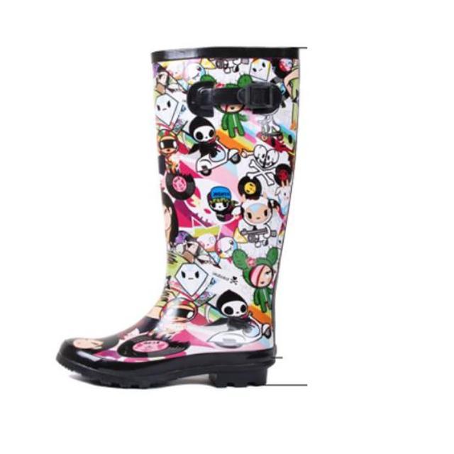 【Sp house】可愛手繪娃娃套腳高筒女用雨靴(黑色)