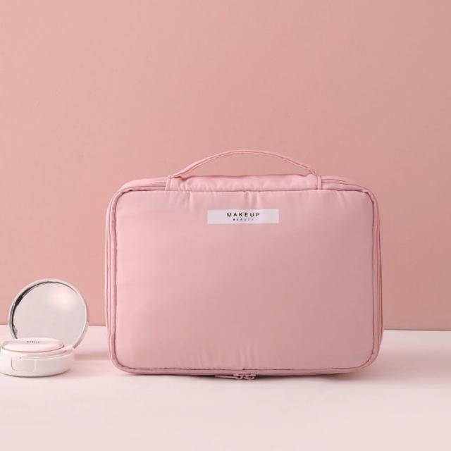 【89 zone】日系便攜旅行大容量化妝品收納包/化妝包(馬卡粉大號)