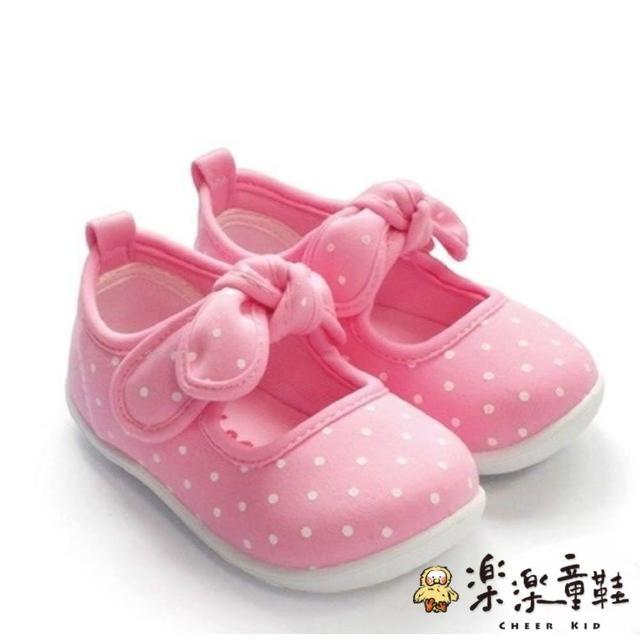 【樂樂童鞋】【台灣製現貨】MIT點點蝴蝶結娃娃鞋-粉(現貨 台灣製 女童鞋 小童鞋)