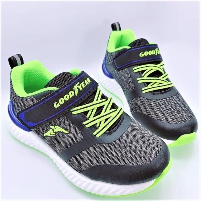 【樂樂童鞋】GOODYEAR魔粒球慢跑鞋-黑綠-G005-1(男童鞋 大童鞋 運動鞋 慢跑鞋 休閒鞋)