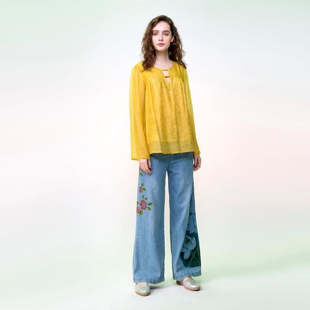 【PANGCHI 龐吉】雙材質透氣繡花上衣