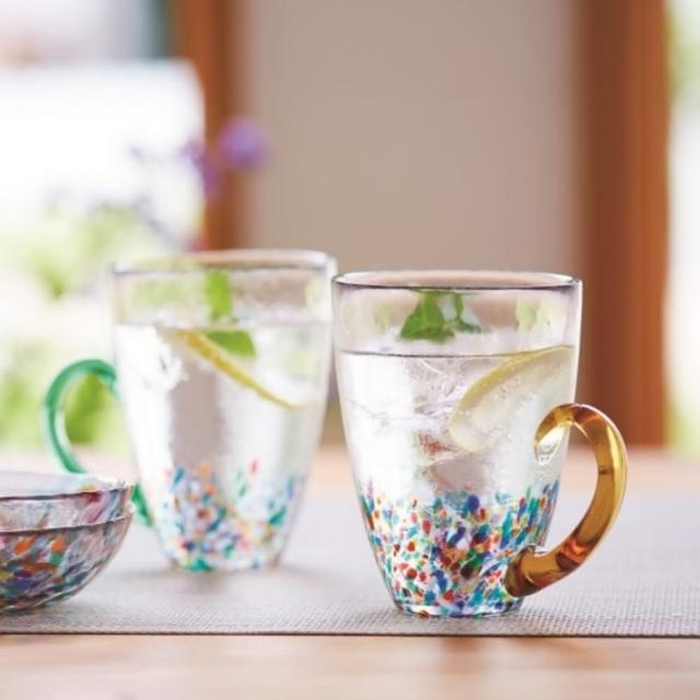 【ADERIA】日本津輕 手作睡魔玻璃杯 320ml 三種顏色把手(玻璃杯)
