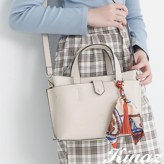 【KINAZ】附手拿包印花絲巾流蘇吊飾多層手提斜背包-甜釉米白-森林之行系列