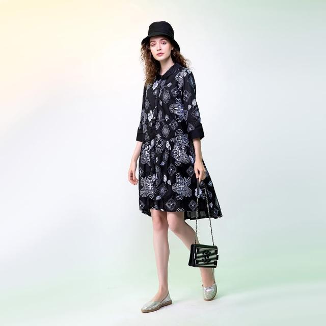 【PANGCHI 龐吉】細緻花卉繡花純棉洋裝
