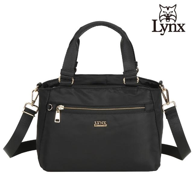 【Lynx】美國山貓輕量尼龍布包多隔層機能兩用包 手提/斜背(黑色)