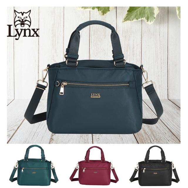 【Lynx】美國山貓輕量尼龍布包多隔層機能兩用包 手提/斜背(藍/綠/紅/黑 多色賣場)
