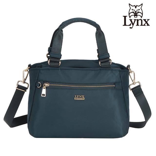 【Lynx】美國山貓輕量尼龍布包多隔層機能兩用包 手提/斜背(深藍色)