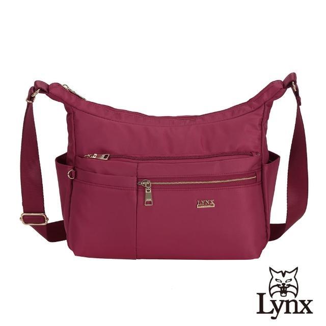 【Lynx】美國山貓輕量尼龍布包多隔層機能斜背包(紅色)