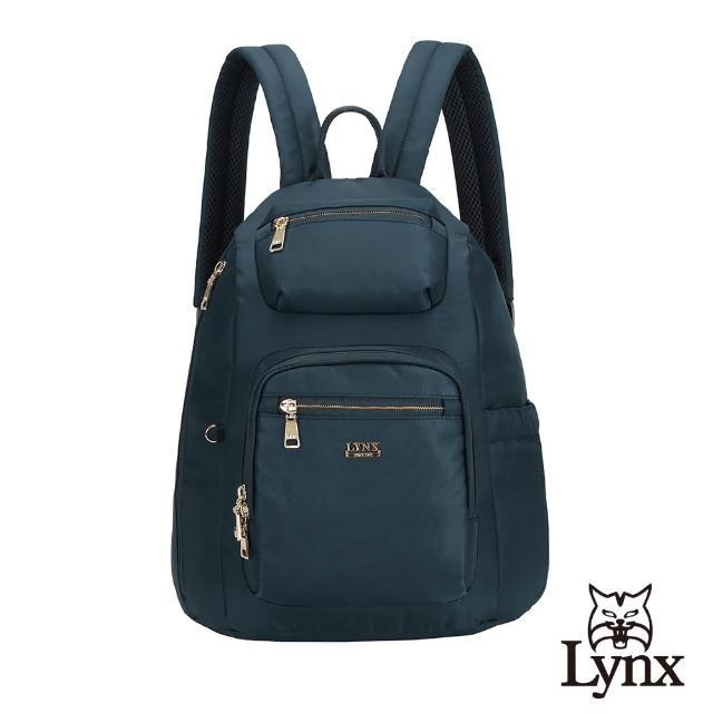 【Lynx】美國山貓輕量尼龍布包多隔層機能後背包 手提/雙肩(深藍色)