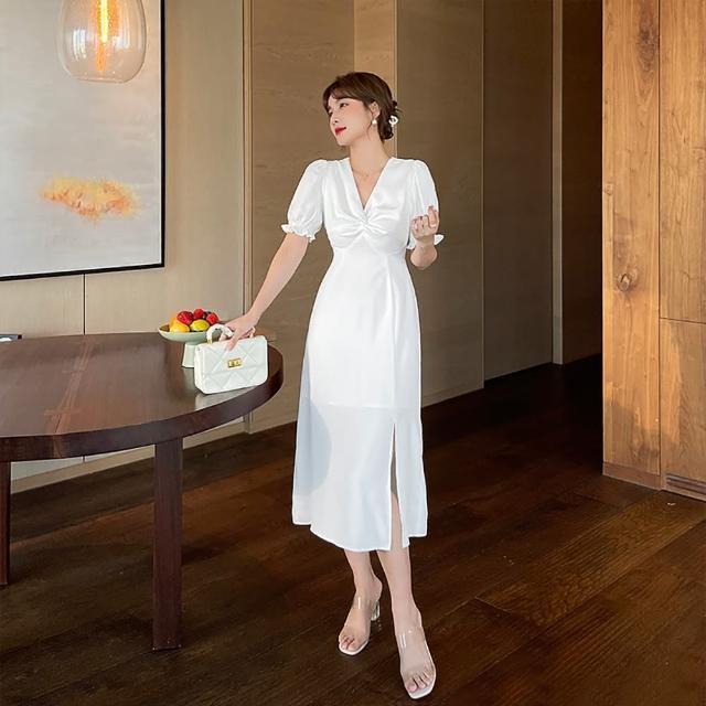 【女神婚紗禮服店】法式復古白色V領泡泡短袖洋裝 提貨券(泡泡袖設計 純白小洋裝)