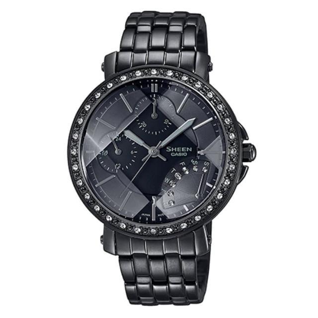 【CASIO 卡西歐】SHEEN 黑天鵝三眼三針切割玻璃編織錶帶不鏽鋼腕錶(SHN-3011BB-1A)