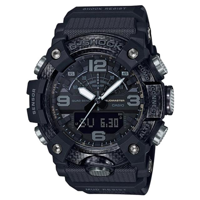 【CASIO 卡西歐】G-SHOCK MUDMASTER 極限冒險碳纖維四重感應器藍芽計步雙顯錶-極致黑(GG-B100-1B)