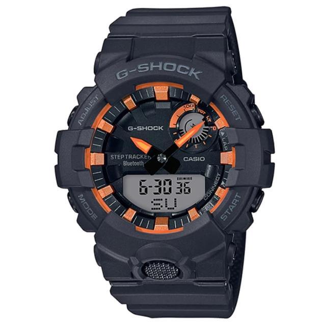【CASIO 卡西歐】G-SHOCK 活力充沛計步藍芽雙顯錶-黑X金屬橘(GBA-800SF-1A)