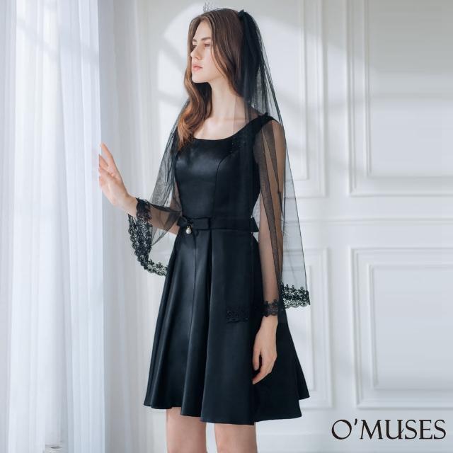 【OMUSES】兩件式珍珠蕾絲伴娘黑色短禮服18-A1919(S-2L)