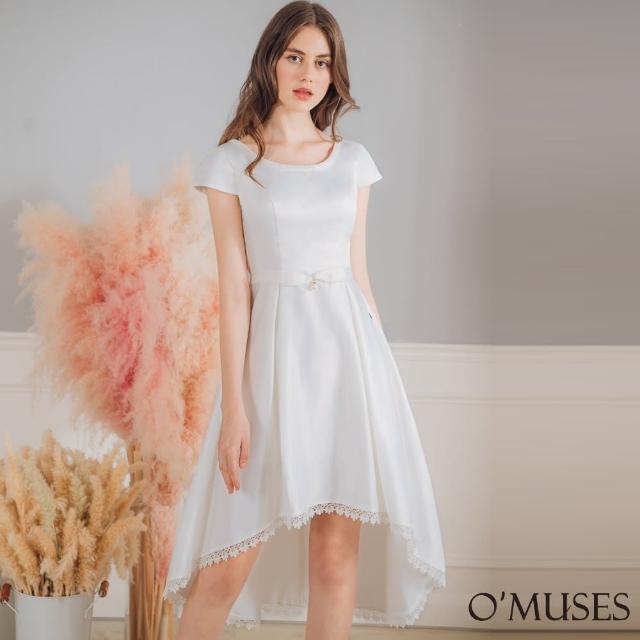 【OMUSES】珠飾刺繡伴娘前短後長白色禮服18-2102(S-2L)