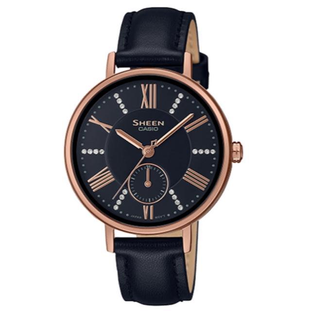 【CASIO 卡西歐】SHEEN古典優雅璀璨奢華皮帶腕錶-蜜桃金X黑皮帶(SHE-3066PGL-1A)