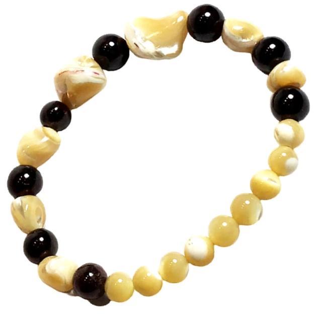 【十方佛教文物】紅石榴+珍珠硨磲手珠5.8mm(大悲咒加持108遍以上)