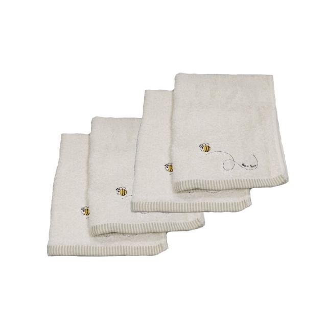 【台灣興隆毛巾】繡蜜蜂有機棉方巾-6入單色(方巾)