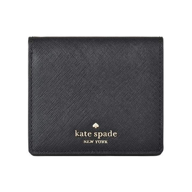 【KATE SPADE】Kate Spade COVE STREET金字LOGO防刮牛皮5卡扣式短夾(黑)