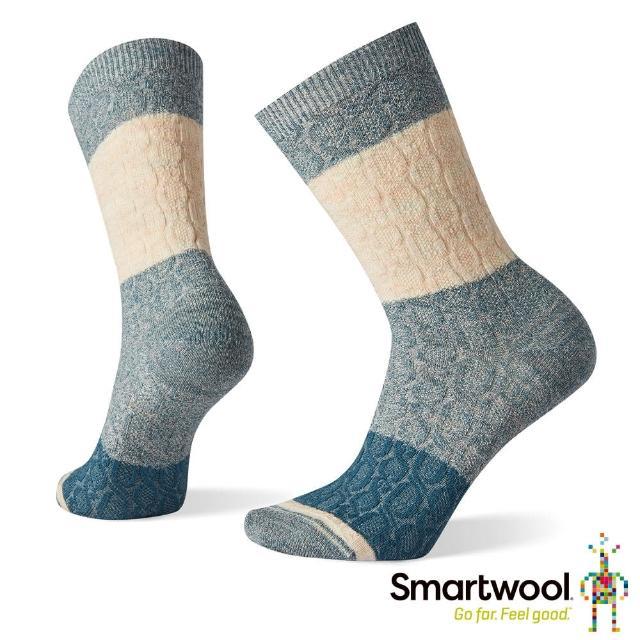 【SmartWool】女 撞色纜紋中長襪(深普魯士藍)