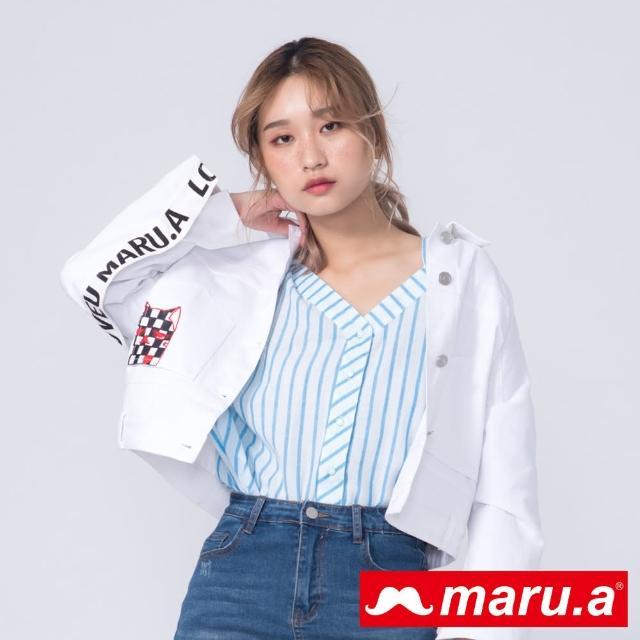 【maru.a】搞怪Miru立體印花V領條紋襯衫(藍色)