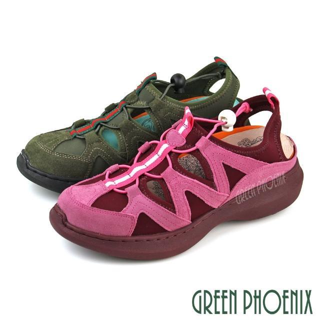 【GREEN PHOENIX 波兒德】女款全真皮手縫撞色簍空束帶釦厚底氣墊涼鞋(桃紅、綠色)