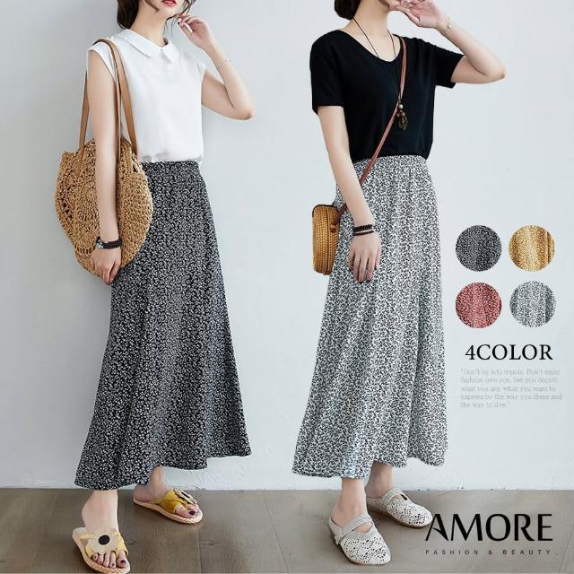 【Amore】日韓雪紡印花舒適氣質長裙(氣質百搭輕飄長裙)
