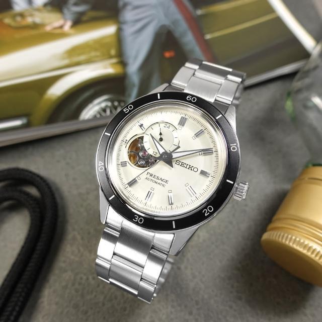 【SEIKO 精工】PRESAGE 鏤空 機械錶 自動上鍊 不鏽鋼手錶 銀白色 41mm(4R39-00Z0S.SSA423J1)