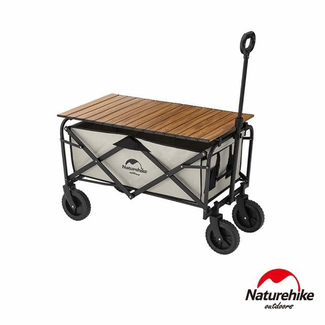 【Naturehike】多用途露營便攜摺疊置物手推車+手推車專用 木紋鋁合金桌板 PJ008