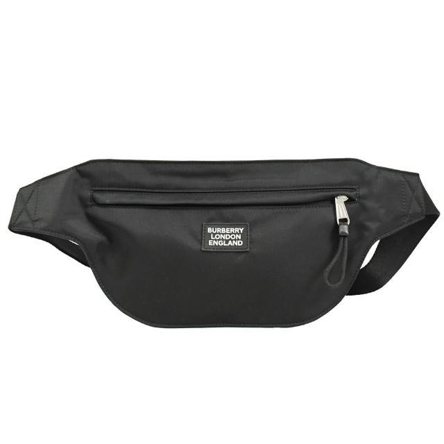 【BURBERRY 巴寶莉】經典品牌標簽LOGO帆布肩斜胸口包腰包(黑)