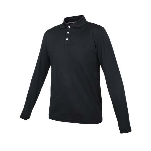 【HODARLA】男女星際吸濕排汗長袖POLO衫-台灣製 慢跑 休閒 上衣 高爾夫 黑(3161301)