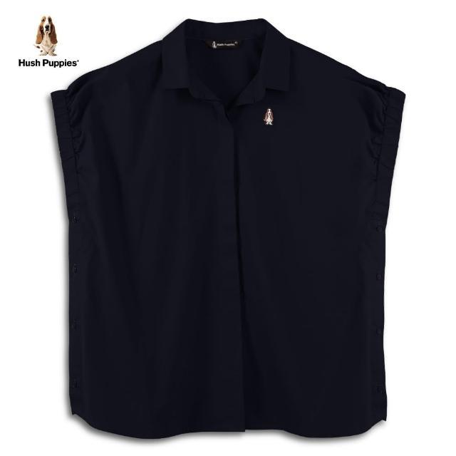 【Hush Puppies】女裝鬆緊袖口側排鈕釦造型襯衫(丈青 / 13212101)