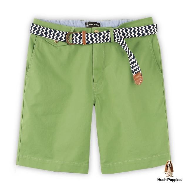 【Hush Puppies】男裝素色附編織腰帶休閒短褲(綠 /13122106)