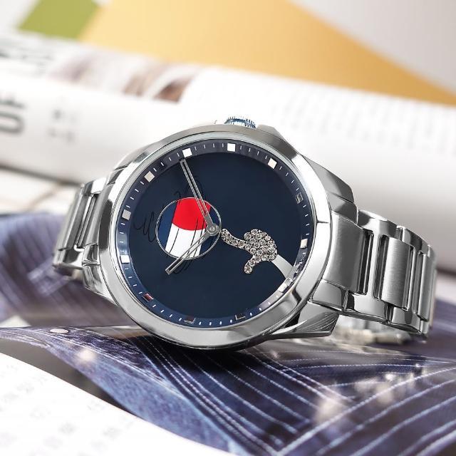 【Tommy Hilfiger】限量款 怪物奇兵聯名 晶鑽時尚 礦石強化玻璃 不鏽鋼手錶 藍色 43mm(1791907)