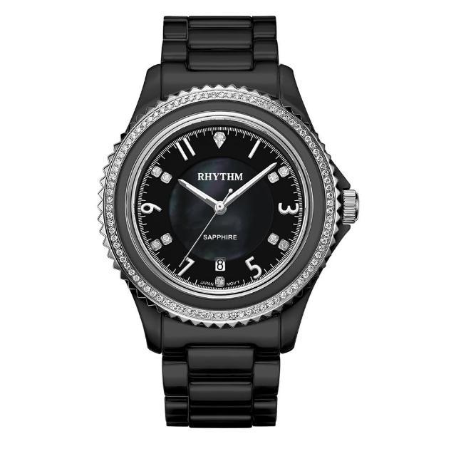 【RHYTHM 麗聲】璀璨奢華鑲鑽陶瓷腕錶C1301C02(黑/全陶瓷錶帶)