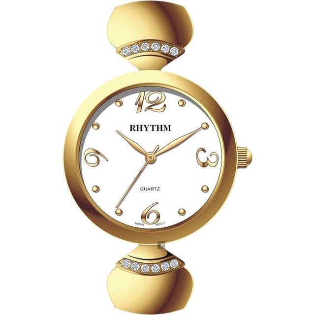 【RHYTHM 麗聲】雅緻品味鑲鑽石英腕表LE1609S03(金/不鏽鋼錶帶)