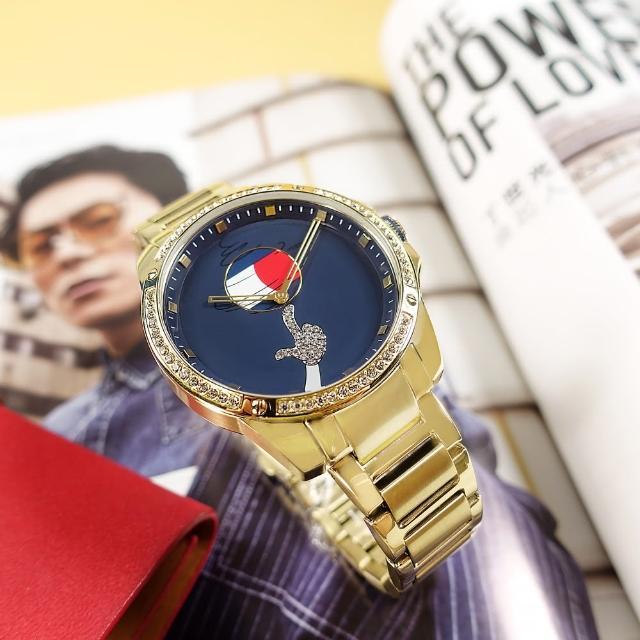 【Tommy Hilfiger】限量款 怪物奇兵聯名 晶鑽時尚 礦石強化玻璃 不鏽鋼手錶 藍x鍍金 43mm(1791874)