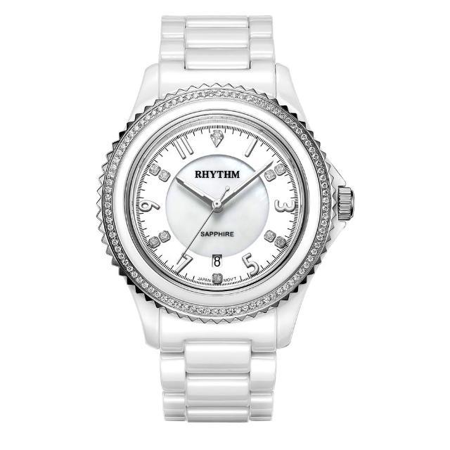 【RHYTHM 麗聲】璀璨奢華鑲鑽陶瓷腕錶C1301C01(白/全陶瓷錶帶)