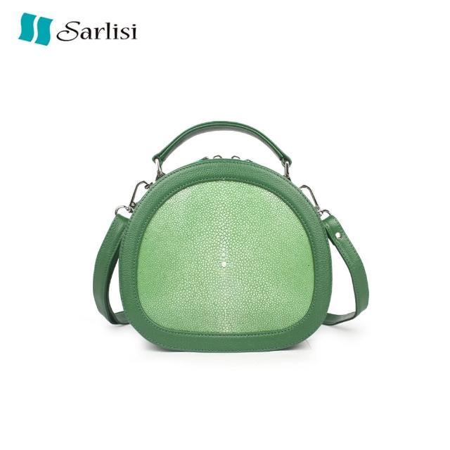 【Sarlisi】包包新款小圓包泰國進口珍珠魚皮單肩女包真皮斜背包女士小眾側背包
