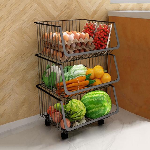 【HappyLife】可移動廚房收納籃 三層 Y10163(收納架 瓶罐收納 收納車 附輪收納車 置物架 廚房收納)