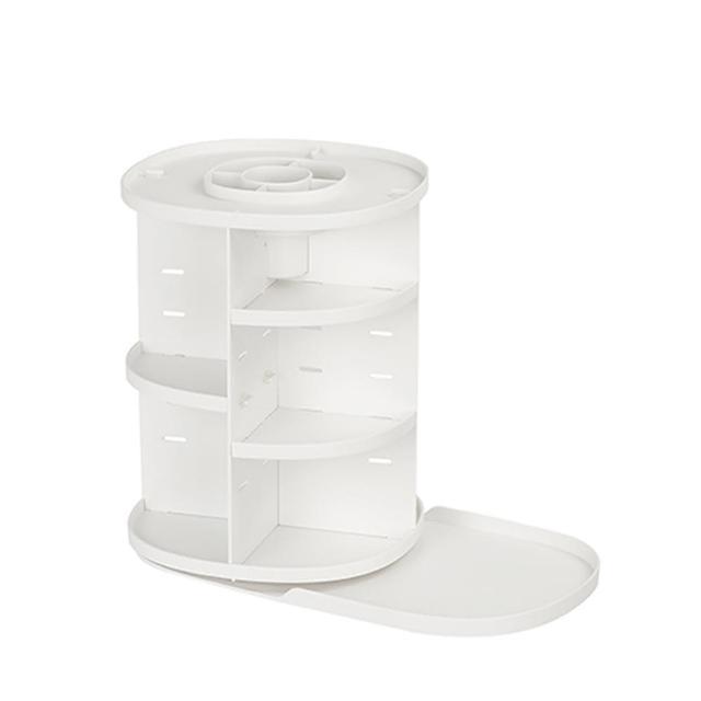 【LITEM 里特】360度旋轉桌上萬用收納架-白(桌面整理/化妝品收納/抽屜收納盒/儲物櫃/開放式收納盒)