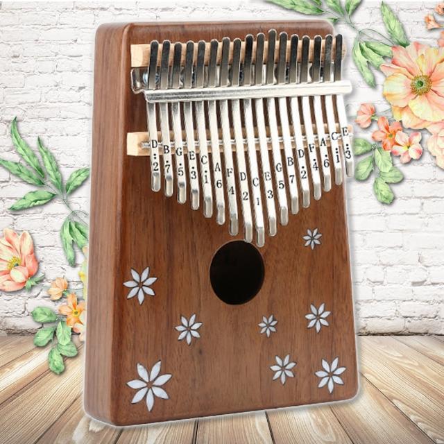 【美佳音樂】Kalimba 卡林巴琴/拇指琴-超值全配.17音相思木單板-花飄鑲貝(贈旅行包)