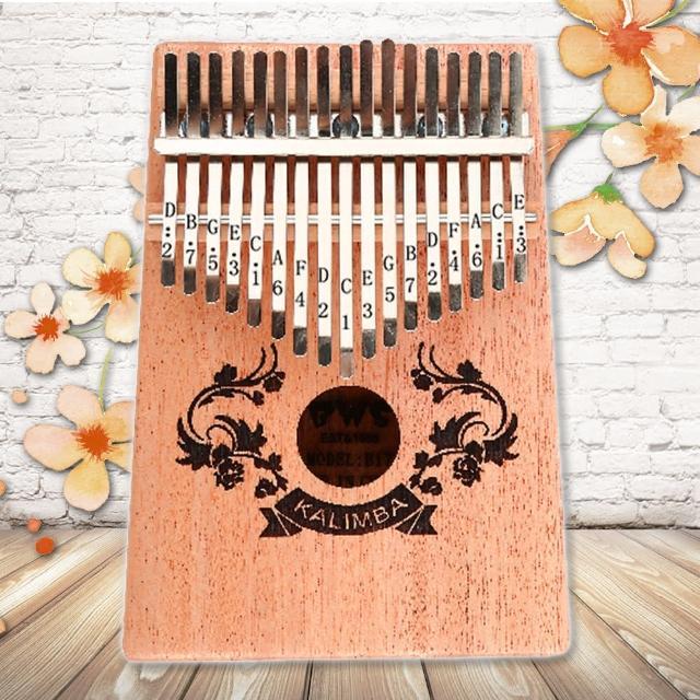 【美佳音樂】Kalimba 卡林巴琴/拇指琴-超值全配.17音桃花芯木單板-雙花雕刻(贈旅行包)